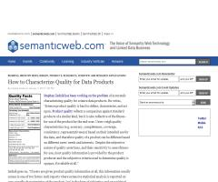How to Characterize Quality for Data Products (Semantic Web)