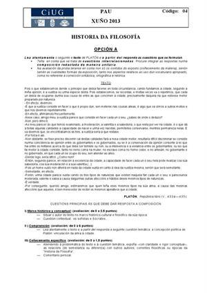 Examen de Selectividad: Historia de la filosofía. Galicia. Convocatoria Junio 2013
