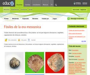 Fósiles de la era mesozoica