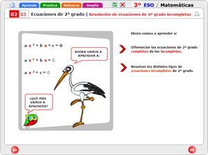 Ecuaciones de segundo grado. Resolución de ecuaciones de segundo grado incompletas. Matemáticas para 3º de Secundaria