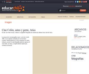Cine Colón, autos y gente, Arica (Educarchile)