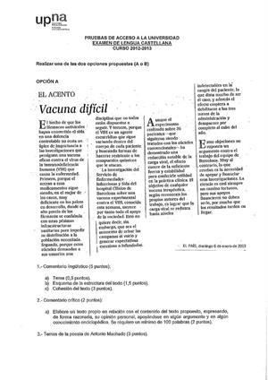 Examen de Selectividad: Lengua castellana y su Literatura. Navarra. Convocatoria Junio 2013