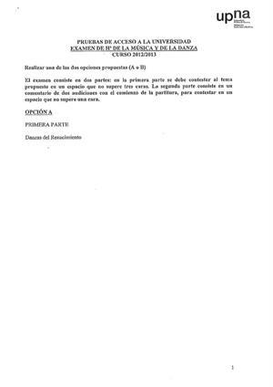 Examen de Selectividad: Historia de la música y la danza. Navarra. Convocatoria Julio 2013