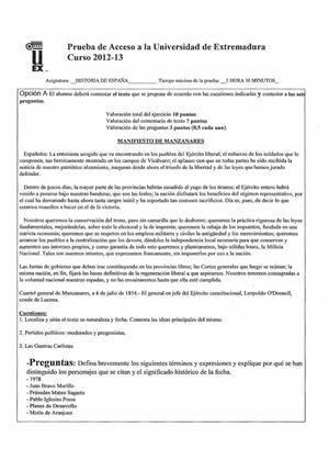 Examen de Selectividad: Historia de España. Extremadura. Convocatoria Junio 2013