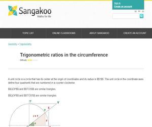 Trigonometric ratios in the circumference