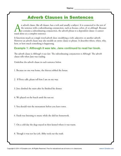 Adverb Clauses in Sentences