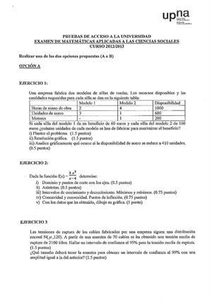 Examen de Selectividad: Matemáticas CCSS. Navarra. Convocatoria Junio 2013