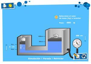 Laboratorio virtual. Prensa hidráulica. Física y Química para 4º de Secundaria