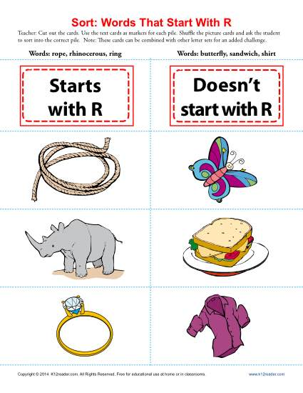 Consonant Sort: Words That Start With R