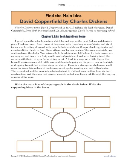 Main Idea Worksheet: David Copperfield