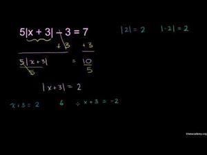Ejemplo de ecuación con valor absoluto - parte 2 (Khan Academy Español)