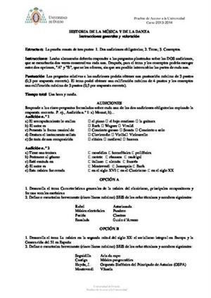 Examen de Selectividad: Historia de la música y la danza. Asturias. Convocatoria Junio 2014