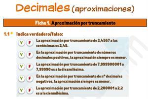Decimales (aproximaciones) - Ficha de ejercicios