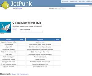 O Vocabulary Words Quiz