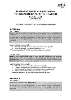 Examen de Selectividad: Técnicas de expresión grafo-plástica. Navarra. Convocatoria Junio 2013