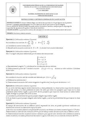 Examen de Selectividad: Matemáticas CCSS. Madrid. Convocatoria Septiembre 2013