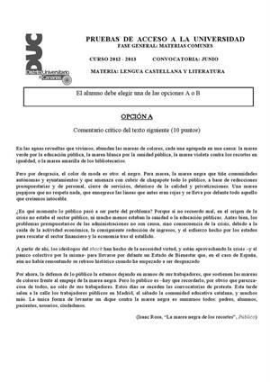 Examen de Selectividad: Lengua castellana y su Literatura. Canarias. Convocatoria Junio 2013