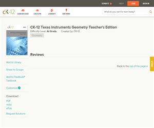CK-12 Texas Instruments Geometry Teacher's Editio? At grade