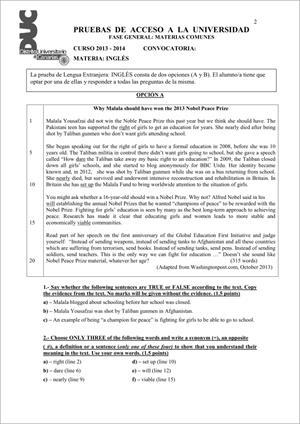 Examen de Selectividad: Inglés. Comunidad Canaria. Convocatoria Junio 2014