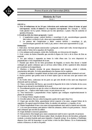 Examen de Selectividad: Historia del arte. Islas Baleares. Convocatoria Junio 2013