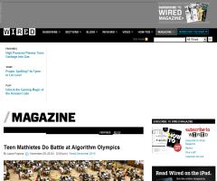 'Teen Mathletes Do Battle at Algorithm Olympics' (Wired, sobre the International Olympiad in Informatics)