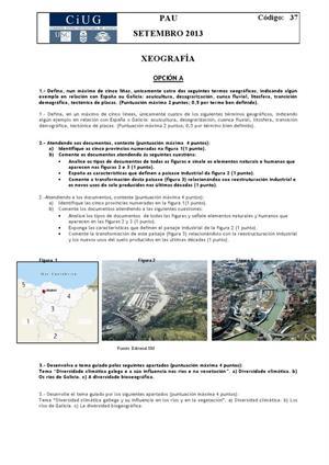Examen de Selectividad: Geografía. Galicia. Convocatoria Septiembre 2013