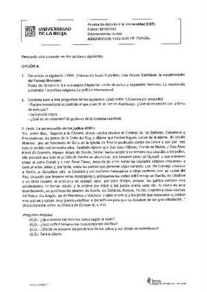 Examen de Selectividad: Historia de España. La Rioja. Convocatoria Junio 2014