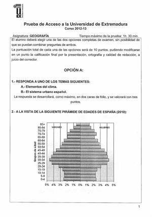Examen de Selectividad: Geografía. Extremadura. Convocatoria Septiembre 2013