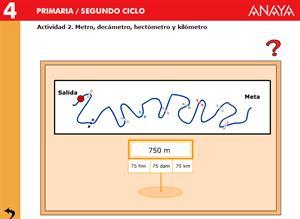 Medidas de longitud. Metro, dam, hm y km. Editorial Anaya