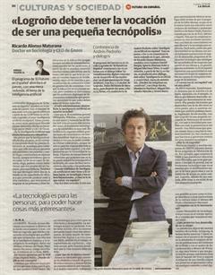 El Diario de La Rioja entrevista a Ricardo Alonso Maturana «Logroño debe tener la vocación de ser una pequeña tecnópolis»