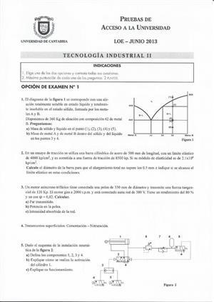 Examen de Selectividad: Tecnología industrial. Cantabria. Convocatoria Junio 2013