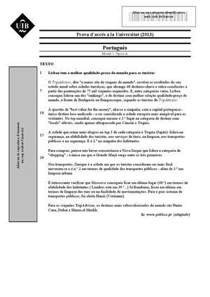 Examen de Selectividad: Portugués. Islas Baleares. Convocatoria Junio 2013