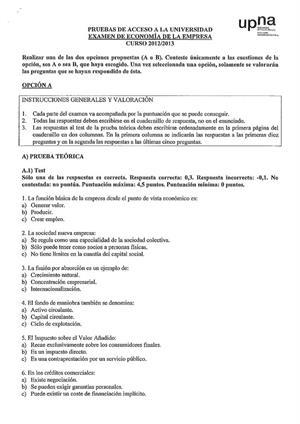 Examen de Selectividad: Economía. Navarra. Convocatoria Junio 2013