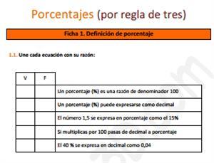 Porcentajes (por regla de tres) - Ficha de ejercicios