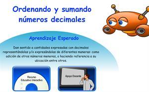 Ordenando y sumando números decimales (Educarchile)