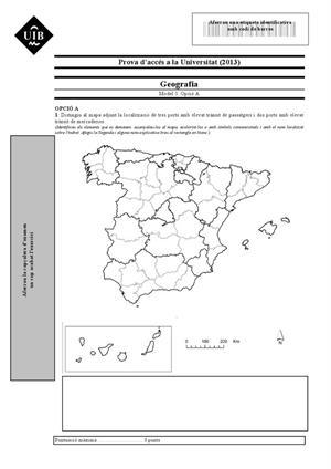 Examen de Selectividad: Geografía. Islas Baleares. Convocatoria Junio 2013