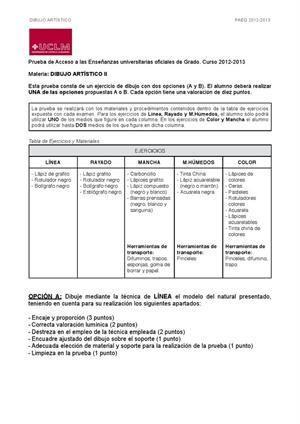 Examen de Selectividad: Dibujo artístico. Castilla-La Mancha. Convocatoria Junio 2013