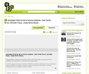 Antologia històrica de la música catalana. Joan Carles Doval, Salvador Pueyo, Josep Maria Massip. (Edu3.cat)