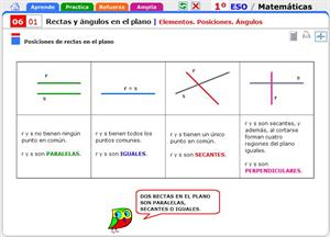 Elementos, posiciones, ángulos. Matemáticas para 1º de Secundaria