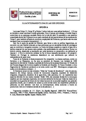 Examen de Selectividad: Historia de España. Castilla y León. Convocatoria Junio 2014