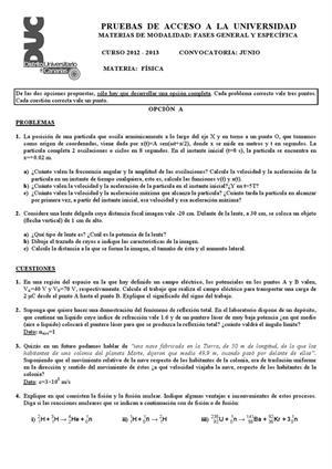 Examen de Selectividad: Física. Canarias. Convocatoria Junio 2013