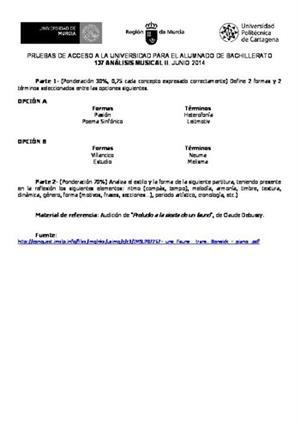 Examen de Selectividad: Análisis musical. Murcia. Convocatoria Junio 2014