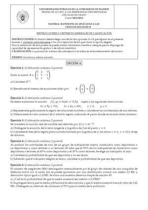 Examen de Selectividad: Matemáticas CCSS. Madrid. Convocatoria Junio 2013