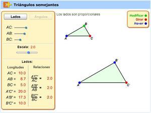 Semejanza de triángulos (educaplus.org)