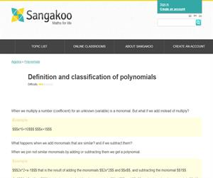 Definition and classification of polynomials