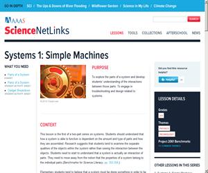 Systems 1: Simple Machines (Science NetLinks)