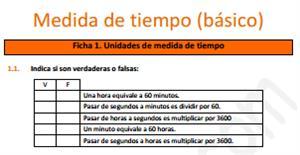 Medidas de tiempo (básico) - Ficha de ejercicios
