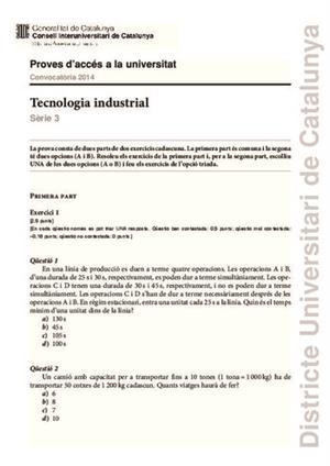Examen de Selectividad: Tecnología industrial. Cataluña. Convocatoria Junio 2014