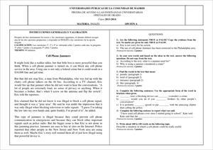 Examen de Selectividad: Inglés. Madrid. Convocatoria Junio 2014