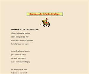 Romance del infante Arnaldos, lectura comprensiva interactiva